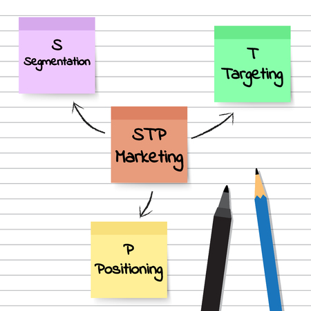 Vector Illustration Pastel Sticky Notes Plan And Model Of STP Marketing Diagram Means Segmentation, Targeting, And Positioning Pasted On White Lined Paper With Black Color Pen And Blue Pencil