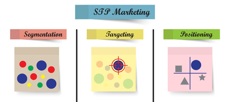 Vector Illustration Pastel Sticky Notes STP Marketing Process Means Segmentation, Targeting, And Positioning As Circles Then Aim At Selected One Then Compare To Other Ones On White Background Illusztráció