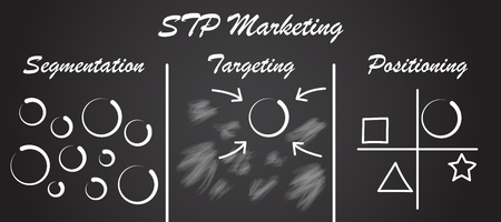 Vector Illustration Plan And Model Of STP Marketing Process Means Segmentation, Targeting, And Positioning As Chalk Circles Then Aim At Selected One Then Compare To Other Ones On Blackboard