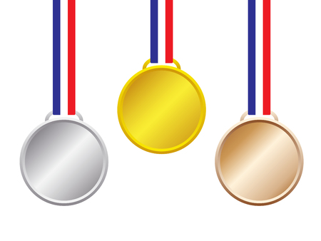 Vector Illustration Objects As Three Blank Medal, Gold, Silver, Bronze, With Blue, White, Red Stripes Ribbon Hanging On White Background For Business And Sport As First, Second, Third Place Success  Illusztráció