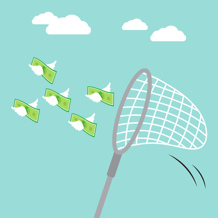 Vector Illustration Business Concept Designed As A Sweep Net Is Catching Flying Money With White Wings In The Air. It Means Seizing The Opportunity That Is Able To Generate Much More Income. Vettoriali