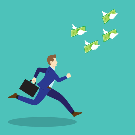 Vector Illustration Business Concept Designed As A Businessman Is Running Forward In High Speed To Chase Flying Money With White Wings. It Means Trying To Work Hard To Get More Income.