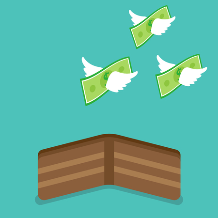Vector illustration business concept designed as money with white wings are flying away from a brown wallet.