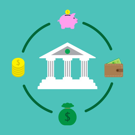 Vector illustration of financial institution is surrounded by four Icons, piggy bank, wallet, money bag, coins on green background involving in banking, saving, transferring and investment Illusztráció