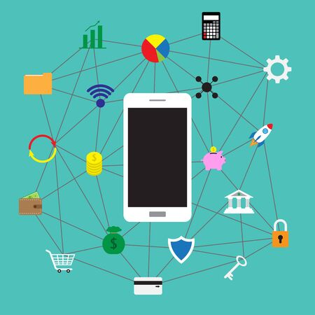 Vector illustration of white smartphone surrounded by colorful fintech flat icons on green background