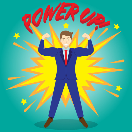 Business Concept As A Full-Energy Businessman Is Powering Up To Be Stronger As Bigger Arms And Biceps With Boom Effect At The Back. It Means Enhancing, Strengthening Self Performance For Achievement. Vettoriali