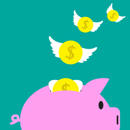 Vector Illustration Business Concept Designed As Coins With White Wings Are Flying Away From A Pink Piggy Bank. It Means Income, Revenue Runs Out From The Budget Or Spending Too Much Until Broke.