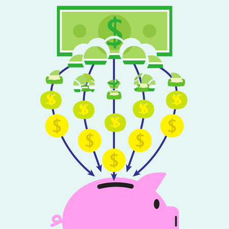 Vector Illustration Of A Banknote Is Slowly Transforming Into Coins Piece Bu Piece And Get In A Pink Piggy Bank On Light Blue Background Involving In Banking, Saving, Transferring And Investment