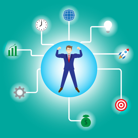 Business Concept As A Full-Energy Muscular Businessman Is Connected With Glowing Business Icons. It Means Strength Of Self Performance Relates To Achievement, Success, Idea, Time, Management. Illusztráció
