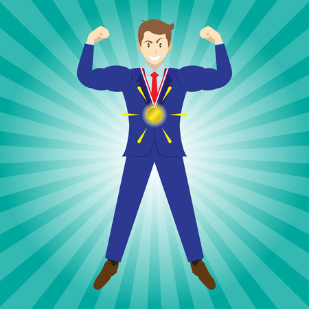 Business concept as a full energy muscular businessman wears a glowing shining gold medal. Vettoriali