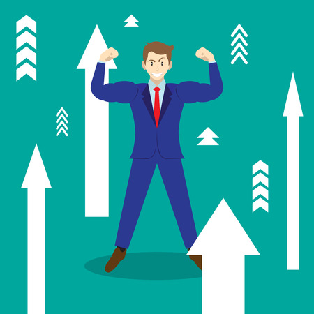 Business Concept As A Full-Energy Muscular Businessman Is Standing Among White Upward Arrows. It Means Enhancing, Strengthening Self Performance With Full Motivation, Encouragement For Achievement.