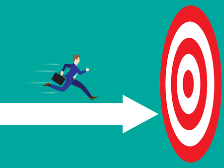 Business concept designed as a businessman is running forward in high speed on white arrows to the target.