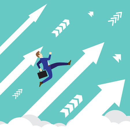 Business concept designed as a businessman is running upward in high speed on white arrows among the sky.