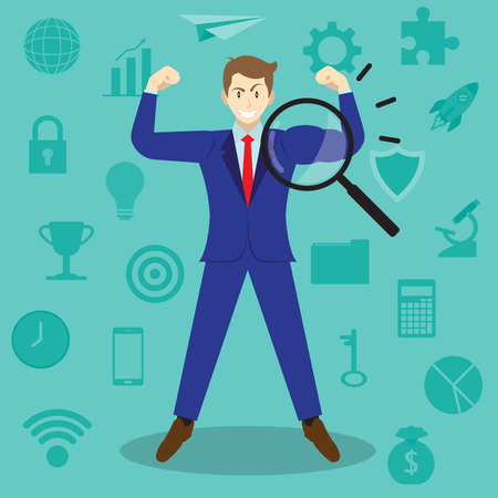 Business Concept As A Magnifying Glass Enlarges Arm Of Businessman Being Muscular Among Business Icons. It Means Revealing True Strength Of Self Performance For Entrepreneurship And Management.