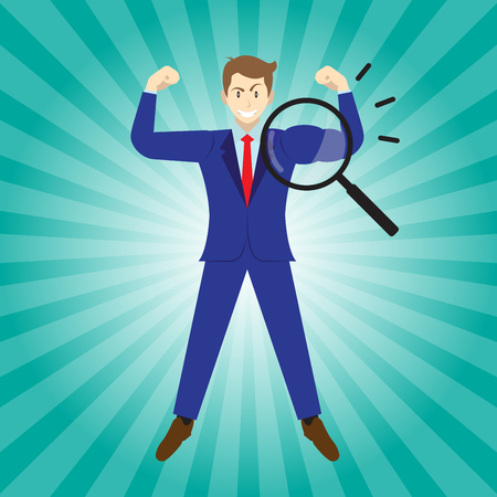 Business Concept As A Magnifying Glass Enlarges Arm Of Businessman Being Muscular. It Means Revealing True Strength Of Self Performance For Entrepreneurship, Management, Leadership, And Achievement.
