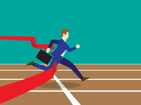 Business Concept As A Full-Energy Businessman Running On Track To Get Through Red Ribbon As Finish Line. It Means Performing The Best Effort To Succeed The Goal And Overcome Difficulty Ahead.