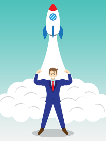 Business Concept As A Full-Energy Muscular Businessman Is Standing In Front Of Launching Rocket. It Means Strength Of Self Performance Is Readiness For Initiate New Business, Start Up, Introduction. Vettoriali
