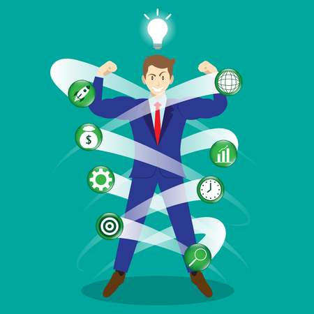 Muscular Businessman Surrounded By Business Icons With Light Bulb Above. Vettoriali