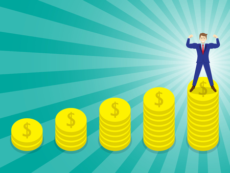 Businessman Standing On Golden Stacked of Coins.