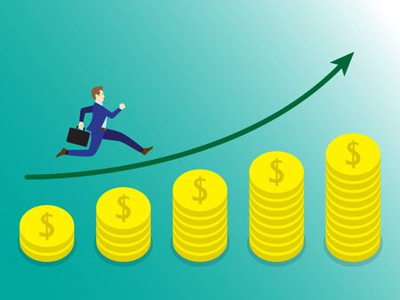 Businessman Running On Growth Coins Graph.