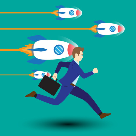 Business Opportunity Concept Designed As A Businessman Is Running Forward In High Speed Along With Dashing Rockets. Vettoriali