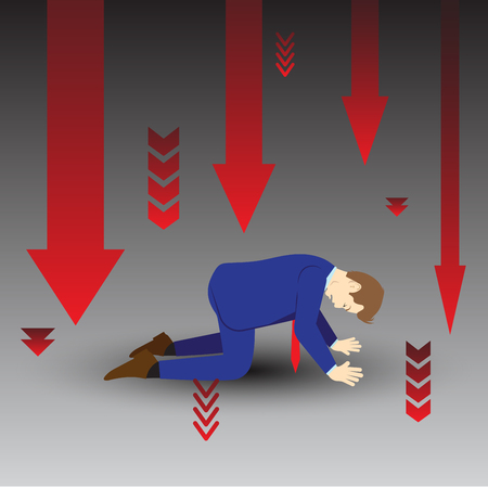 Illustration of sad map all arrow going down.