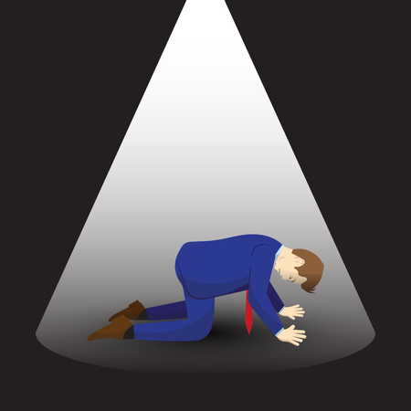 Vector Illustration Business Concept Designed As An Isolated Businessman Is Kneeling Under Spotlight. He Is Despairing To Isolation And Loss And Full Of Disappointment, Depression, And Discouragement.
