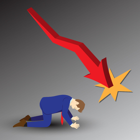 Vector Illustration Business Concept Designed As A Businessman Is Kneeling Under Declining Red Line Graph. He Is Despairing To Decreased Profit; Full Of Disappointment, Depression, And Discouragement.