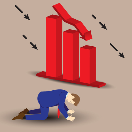 Vector Illustration Business Concept Designed As A Businessman Is Kneeling Beside Declining Red Bar Graph. He Is Despairing To Decreased Profit; Full Of Disappointment, Depression, And Discouragement.
