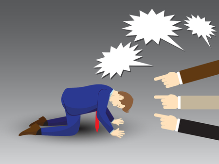 Vector illustration business concept designed as a businessman is kneeling with others pointing and shouting at him. He is seriously criticized, blamed, accused by the others and full of depression.