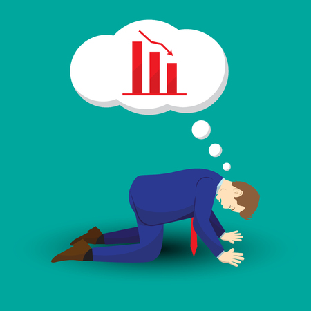 Vector illustration business concept designed as a businessman is kneeling and thinking of declining graphs. He is despairing to decreased profit; full of disappointment and depression.