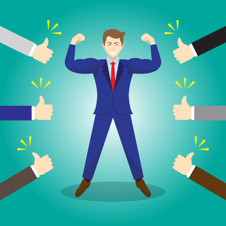 Vector Illustration Business Concept As A Strong Businessman Is Standing And Thumbs Up From Others. He Is Proud Of Himself And He Is Admired, Praised, Respected, Cheered And Full Of Social Esteem. Ilustração