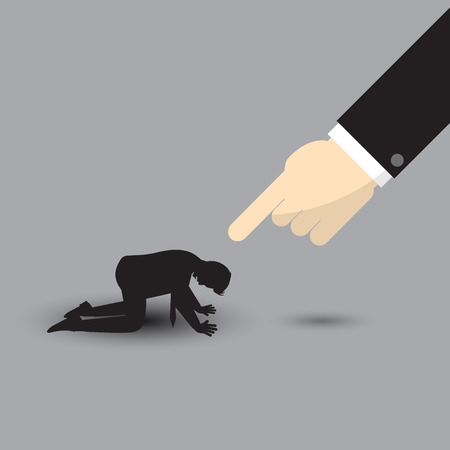 Vector Illustration Business Concept Designed As A Big Arm Pointing At Silhouette Kneeling Businessman. He Is Seriously Criticized, Blamed, Accused By The Other And Full Of Depression And Stress.