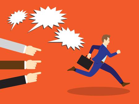 Ilustración vectorial Concepto de negocio diseñado como un hombre de negocios está huyendo de otros Acusación con señalar y gritar a él. Él está escapando de la Crítica y la culpa en serio. Foto de archivo - 91316701