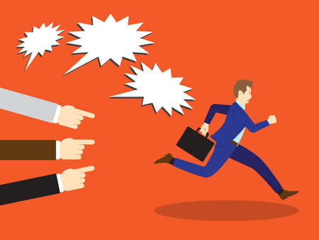 Vector Illustration Business Concept Designed As A Businessman Is Running Away From Others Accusation With Pointing And Shouting At Him. He Is Escaping from Seriously Criticism And Blame.