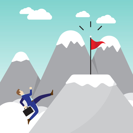Business Concept As A Full-Energy Businessman Running On Mountain To The Red Flag. It Means Performing The Best Effort To Approach, Succeed The Goal And Overcome Difficulty Ahead.