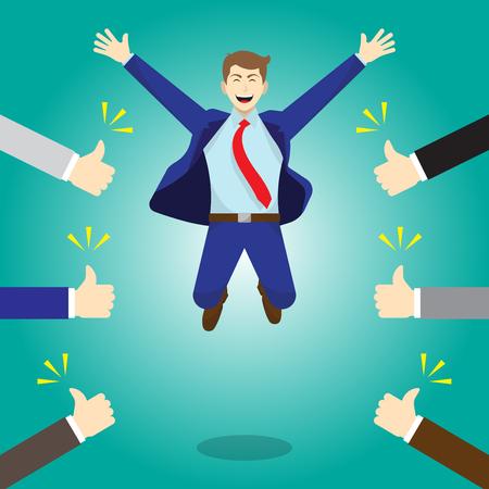 Das Geschäftskonzept der Vektorillustration als ein glücklicher Geschäftsmann springt hoch und Daumen hoch von anderen. Er ist entzückend und er wird bewundert, gelobt, respektiert, angefeuert und voller sozialer Wertschätzung.