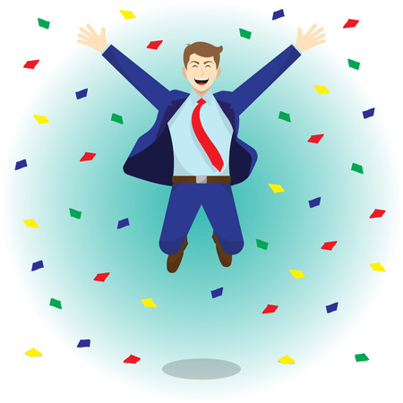 Vector Illustration Business Concept As A Happy Businessman Is Highly Jumping Among Colorful Piece Of Papers. He Is Delightful And Pleasure What He Achieves, Succeeds, Attains; Full Of Self Esteem.