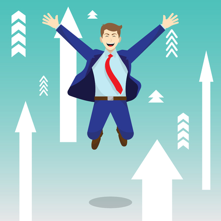 Vector Illustration Business Concept As A Happy Businessman Is Highly Jumping Among White Upward Arrows. He Is Delightful And Pleasure With Continuous Better Circumstance; Full Of Self Esteem.