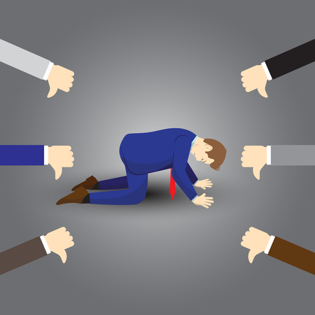 Vector Illustration Business Concept Designed As A Businessman Is Kneeling And Others Giving Thumbs Down To Him. He Is Disagreed, Disrespected, Opposed By Others And Full Of Depression And Stress.