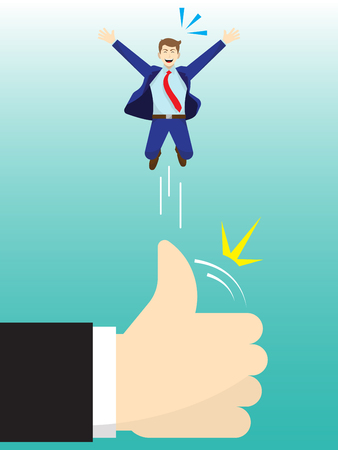 Vector Illustration Business Concept As A Giant Hand Is Flicking Businessman Up High By Thumb. He Is Delightful And Using Admiration, Respect, Social Esteem As Opportunity for Better Self Performance.
