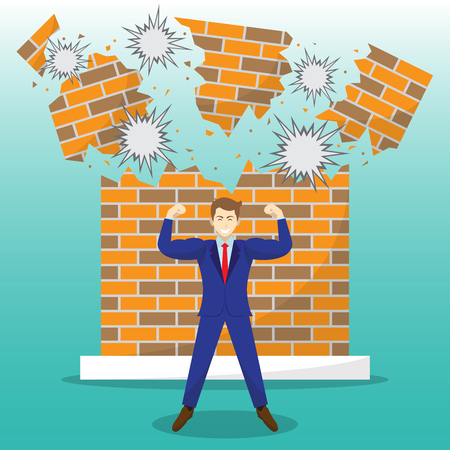 Vector Illustration Business Concept As A Strong Businessman Is Standing In Front Of Breaking Brick Wall. He Is Proud Of Self Performance And Best Effort To Overcome Obstacle, Barrier, Difficulty.