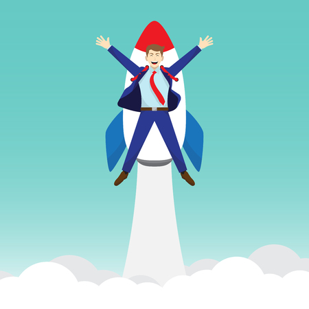 Business Concept As A Happy Businessman Is Attached To A Rocket Launching Into The Sky.