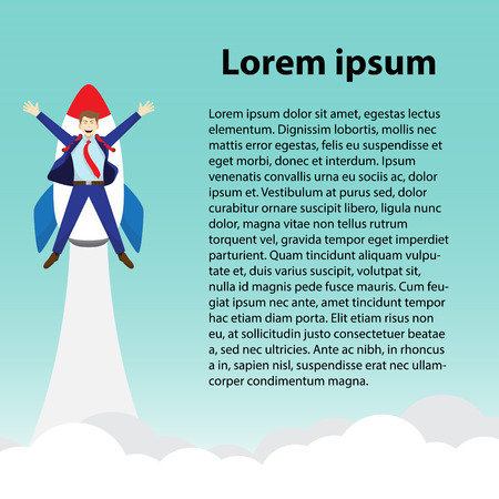 Business Concept As A Happy Businessman Is Attached To A Rocket Launching Into The Sky With Text. Vettoriali