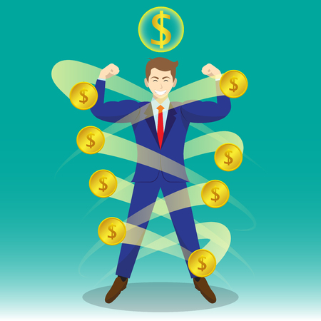 Business Concept As A Full-Energy Muscular Businessman Is Surrounded By Golden Coins With Dollar Sign Above. 일러스트