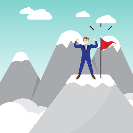 Business Concept As A Muscular Businessman Standing On A Pinnacle Of Mountain Next To The Red Flag. It Means Best Effort Of Self Performing Succeeds The Goal And Overcome Difficulty Ahead.