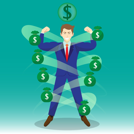 Business Concept As A Full-Energy Muscular Businessman Is Surrounded By Money Bags With Dollar Sign Above. It Means Wealth Strengthens Self Performance To Manage And Cope With Financial Issues.