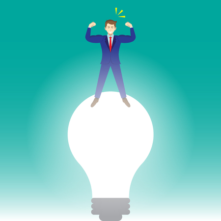 Business Concept As A Full-Energy Muscular Businessman Is Standing On A Big Bright Light Bulb. It Means A New Idea Strengthens Self Performance Creativity, Initiation, Innovation, Improvement.