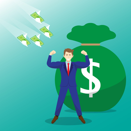 Vector Illustration Business Concept Designed As Money Flying Toward A Strong Businessman With Big Money Bag. It Means Best Self Performance Deserves Much Salary, Wage, Income, And Revenue. Illustration
