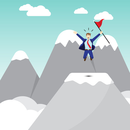 Business Concept As A Happy Businessman Jumping On A Pinnacle Of Mountain And Holding A Red Flag. It Means Best Effort Of Self Performing Succeeds The Goal And Overcome Difficulty Ahead.